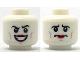 Part No: 3626cpb2040  Name: Minifigure, Head Dual Sided Black Eyebrows, Lavender Cheek Lines, Red Lipstick, Wide Grin / Worried Pattern - Hollow Stud