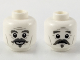 Part No: 3626cpb2162  Name: Minifigure, Head Dual Sided Dark Bluish Gray Eyebrows, Handlebar Moustache and Chin Puff, Smiling / Worried Expression Pattern - Hollow Stud