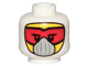 Part No: 3626cpb2386  Name: Minifigure, Head Balaclava with Eyelashes, Red Goggles, White Mask Pattern - Hollow Stud