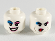 Part No: 3626cpb2487  Name: Minifigure, Head Dual Sided Female Dark Azure and Dark Pink Eyeshadows, Dark Pink Lips, Smile / Sticking Out Tongue Pattern - Hollow Stud