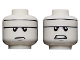 Part No: 3626cpb2719  Name: Minifigure, Head Dual Sided White Headband, Gray Chin Dimple, Frown / Angry Pattern (Batman) - Hollow Stud