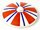 Part No: 3960pb002  Name: Dish 4 x 4 Inverted (Radar) with Solid Stud with Stripes Blue and Red Pattern