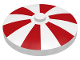 Part No: 3960pb003  Name: Dish 4 x 4 Inverted (Radar) with Solid Stud with Stripes Red Pattern