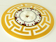 Part No: 3961pb04  Name: Dish 8 x 8 Inverted (Radar) with Red, Black and Pearl Gold Geometric Pattern
