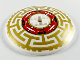 Part No: 3961pb12  Name: Dish 8 x 8 Inverted (Radar) with Red Machinery in Center and Gold Asian Geometric Pattern