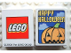 Part No: 4066pb075  Name: Duplo, Brick 1 x 2 x 2 with Halloween 2004 Happy Halloween and Pumpkin Pattern