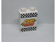 Part No: 4066pb411  Name: Duplo, Brick 1 x 2 x 2 with Lightning Bolt, '95' and Checkered Flag Pattern