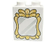 Part No: 4066pb433  Name: Duplo, Brick 1 x 2 x 2 with Silver Mirror and Gold Frame Pattern