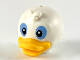Part No: 41594pb01  Name: Minifigure, Head Modified Duck with Forehead Tuft, Bright Light Orange Bill and Black and Medium Blue Eyes Pattern (Donald's Nephews)
