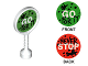 Part No: 41759pb01  Name: Duplo Utensil Round Sign with Handle with 'GO FOR IT' and 'NEVER STOP' Pattern