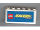 Part No: 4176pb09  Name: Windscreen 2 x 6 x 2 with LEGO Racers Logo on Blue Background Pattern (Sticker)