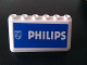 Part No: 4176pb26  Name: Windscreen 2 x 6 x 2 with 'PHILIPS' on Blue Background Pattern (Sticker) - Set 880002-2 (in Combination with Sets 3308 / 3309)