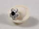Part No: 41944pb01  Name: Minifigure, Hat with Pin Attachment, Pillbox Hat with Silver and Black Flower Pattern