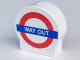 Part No: 41970pb11  Name: Duplo, Brick 1 x 3 x 2 Round Top Road Sign with 'WAY OUT' Pattern