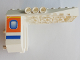 Part No: 42601pb02  Name: Aircraft Fuselage Angular Aft Section 6 x 10 x 5 with Blue and Orange Window Pattern on Both Sides (Stickers) - Set 4619