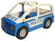 Part No: 4354c03pb01  Name: Duplo Car with 2 Studs on Roof, Blue Base and Blue 'POLICE' Pattern