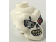 Part No: 43693pb02  Name: White Minifigure, Head Modified Skull with Red Left Eye, Silver Eyepatch Pattern