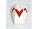 """Part No: 43712pb027  Name: Wedge 6 x 4 Triple Curved with Red """"V"""" Pattern (Stickers) - Set 8161"""