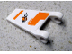 Part No: 44676pb035R  Name: Flag 2 x 2 Trapezoid with Orange Lines and Modified Classic Space Logo Pattern Model Right Side (Sticker) - Set 7645