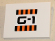 Part No: 4515pb045  Name: Slope 10 6 x 8 with Orange and Black Stripes and 'G-1' Pattern (Sticker) - Set 5985