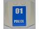 Part No: 45677pb015  Name: Wedge 4 x 4 x 2/3 Triple Curved with White '01 POLICE' on Blue Background Pattern (Sticker) - Set 7744