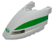 Part No: 45706pb01  Name: Train Front 6 x 10 x 3 2/3 Triple Curved with Green Stripe and Train Logo Pattern