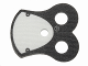 Part No: 48431pb05  Name: Minifigure, Armor Pauldron Cloth with Black Neck and 2 Black Circles Pattern, Thick Border