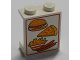Part No: 4864apx1  Name: Panel 1 x 2 x 2 - Solid Studs with Hamburger, Pizza, Fries, and Sausages Pattern