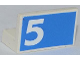 Part No: 4865pb050R  Name: Panel 1 x 2 x 1 with White Number 5 on Blue Background Pattern Model Right Side (Sticker) - Set 1750