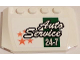 Part No: 52031pb089  Name: Wedge 4 x 6 x 2/3 Triple Curved with 'Auto Service 24-7' and Orange Stars on White Background Pattern (Sticker) - Set 60081