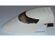 Part No: 54092c01pb03  Name: Aircraft Fuselage Curved Forward 8 x 16 x 5 with Trans-Black Glass with Red and Silver Lines Pattern on Both Sides (Stickers) - Set 3182