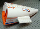 Part No: 54701c03pb01  Name: Aircraft Fuselage Curved Aft Section with Orange Base with Orange and Blue Stripes, 'Hot Air Danger' and '7738' Pattern (6 Stickers) - Set 7738