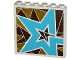 Part No: 59349pb099R  Name: Panel 1 x 6 x 5 with Silver and Gold Triangle Mosaic and Medium Azure Star Pattern Model Right Side (Sticker) - Set 41106