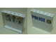 Part No: 59349pb181  Name: Panel 1 x 6 x 5 with Blue 'POLICE' on White Background and Gold Police Badge on Outside and Bulletin Board Red Circles, Question Marks and Photos on Inside Pattern (Stickers) - Set 60139