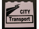 Part No: 60581pb002  Name: Panel 1 x 4 x 3 with Side Supports - Hollow Studs with Black 'CITY Transport' and Road Pattern (Sticker) - Set 8404