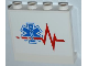 Part No: 60581pb015R  Name: Panel 1 x 4 x 3 with Side Supports - Hollow Studs with Red Heart Monitor Line and EMT Star of Life Pattern Model Right Side (Sticker) - Set 4429