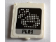 Part No: 60601pb018  Name: Glass for Window 1 x 2 x 2 with Pixelated Ghostbusters Logo and 'PLAY' Pattern (Sticker) - Set 75827