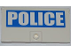 Part No: 60616pb002L  Name: Door 1 x 4 x 6 with Stud Handle with White 'POLICE' on Blue Background Pattern Model Left Side (Sticker) - Set 7288