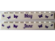 Part No: 6111pb017  Name: Brick 1 x 10 with Dark Purple 'May' and 'June' Pattern on Opposite Sides