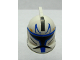Part No: 61189pb02  Name: Minifigure, Headgear Helmet SW Clone Trooper with Holes, Blue Stripe Pattern