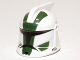 Part No: 61189pb11  Name: Minifigure, Headgear Helmet SW Clone Trooper with Holes, Dark Green Markings, Clone Commander Gree Pattern
