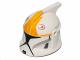 Part No: 61189pb15  Name: Minifigure, Headgear Helmet SW Clone Trooper with Holes, Yellow Markings and Black Visor Pattern (Clone Pilot)