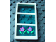 Part No: 6160c03pb11  Name: Window 1 x 4 x 6 Frame with 3 Panes, Fixed Glass with Trans-Light Blue Glass with Flowers Pattern (Sticker) - Set 6418