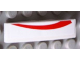 Part No: 61678pb050L  Name: Slope, Curved 4 x 1 No Studs with Red Curved Line on White Background Pattern Model Left Side  (Sticker) - Set 8158