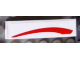 Part No: 61678pb050R  Name: Slope, Curved 4 x 1 No Studs with Red Curved Line on White Background Pattern Model Right Side (Sticker) - Set 8158