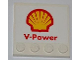 Part No: 6179pb043  Name: Tile, Modified 4 x 4 with Studs on Edge with Shell Logo and 'V-Power' Pattern  (Sticker) - Set 8123
