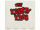 Part No: 6179pb044  Name: Tile, Modified 4 x 4 with Studs on Edge with 'THE KRUSTY KRAB' with Black Outline Pattern (Sticker) - Set 3833