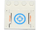 Part No: 6179pb070  Name: Tile, Modified 4 x 4 with Studs on Edge with 'DANGER' and Target in Blue Circle Pattern (Sticker) - Set 70709