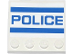 Part No: 6179pb079  Name: Tile, Modified 4 x 4 with Studs on Edge with 2 Blue Stripes and 'POLICE' Pattern (Sticker) - Set 60047