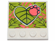 Part No: 6179pb187  Name: Tile, Modified 4 x 4 with Studs on Edge with Lime Leaves and Coral Paw Pattern (Sticker) - Set 41424